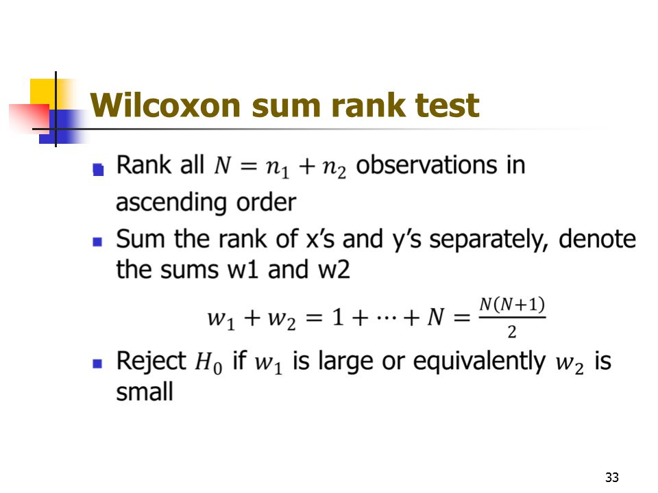 Wilcoxon sum rank test 33