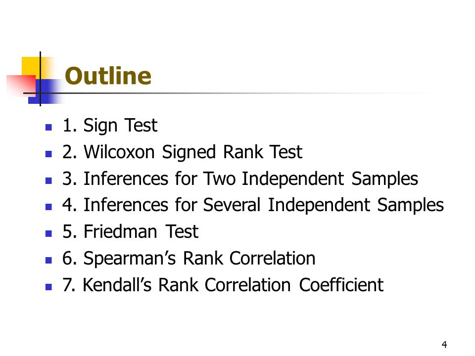 Outline 1. Sign Test 2. Wilcoxon Signed Rank Test 3. Inferences for Two Independent Samples 4. Inferences for Several Independent Samples 5. Friedman