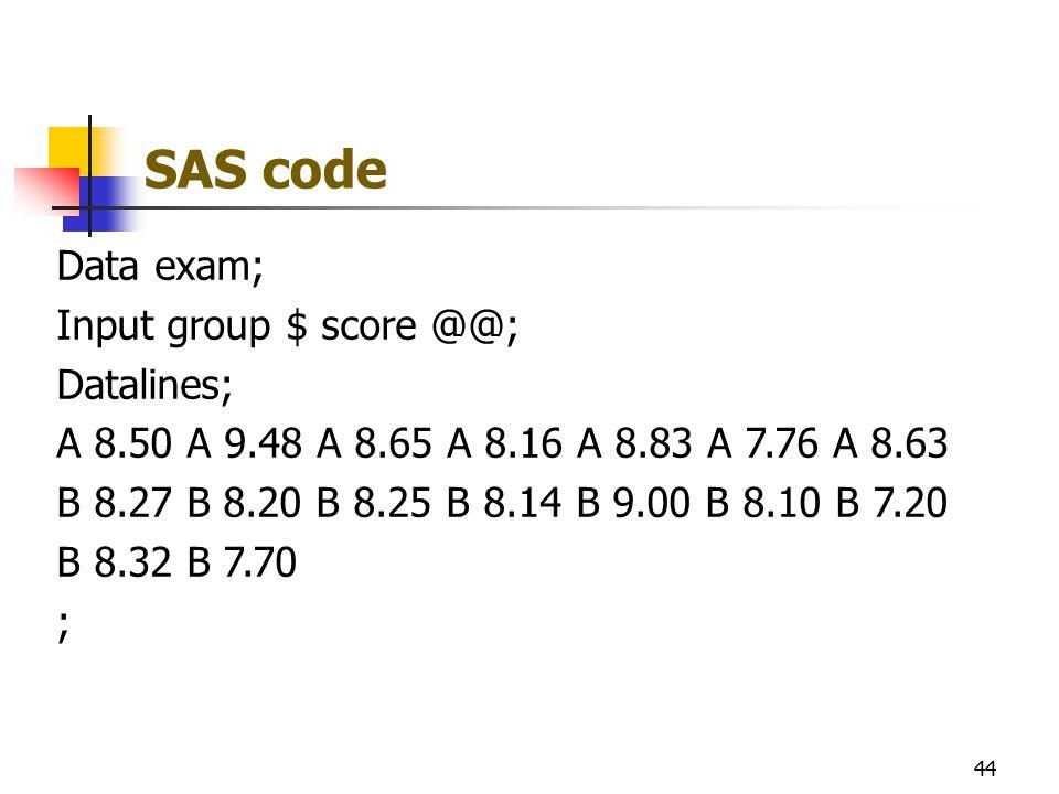 SAS code Data exam; Input group $ score @@; Datalines; A 8.50 A 9.48 A 8.65 A 8.16 A 8.83 A 7.76 A 8.63 B 8.27 B 8.20 B 8.25 B 8.14 B 9.00 B 8.10 B 7.20 B 8.32 B 7.70 ; 44