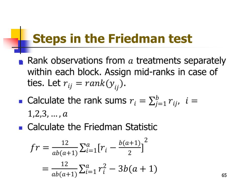 Steps in the Friedman test 65