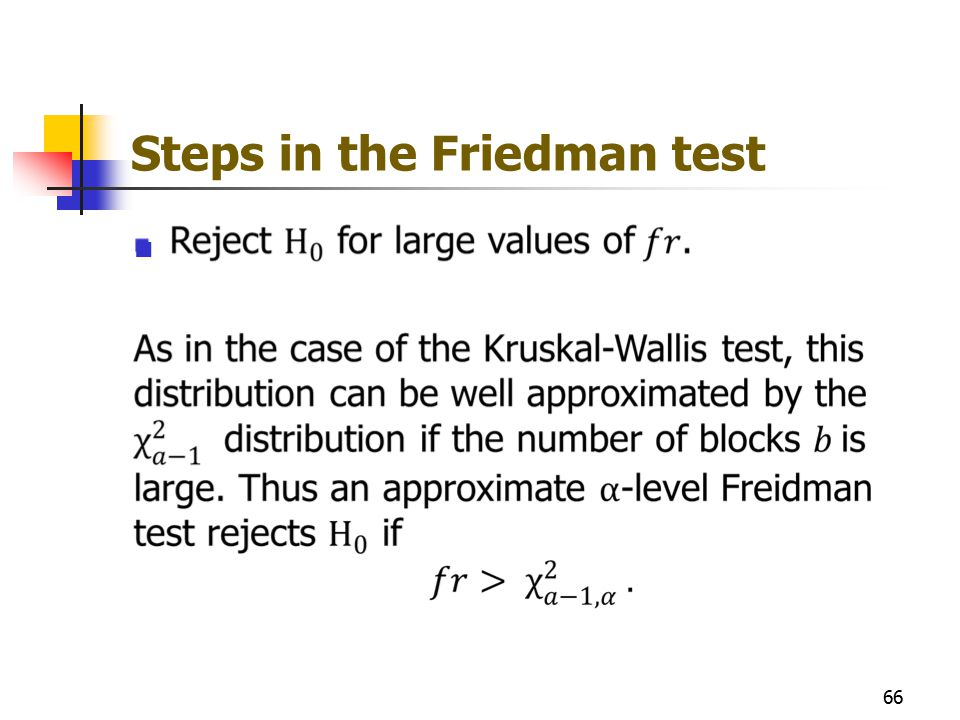Steps in the Friedman test 66