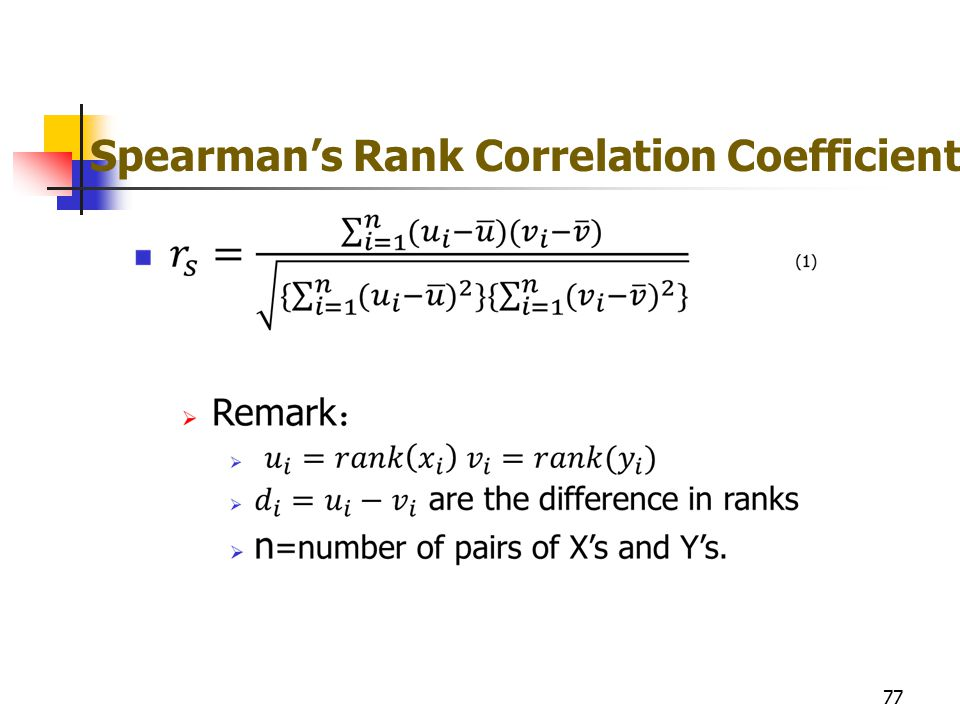 Spearman's Rank Correlation Coefficient 77