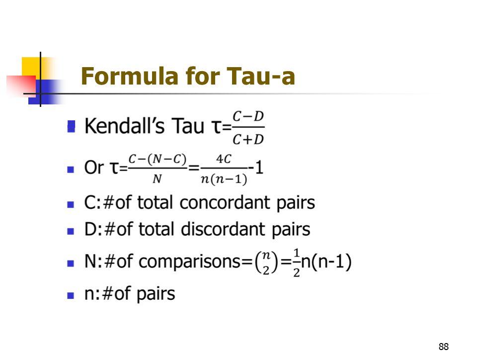 Formula for Tau-a 88