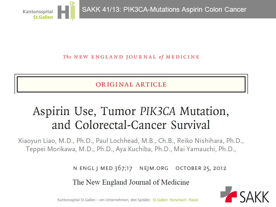 SAKK 41/13: PIK3CA-Mutations Aspirin Colon Cancer Güller/Horber