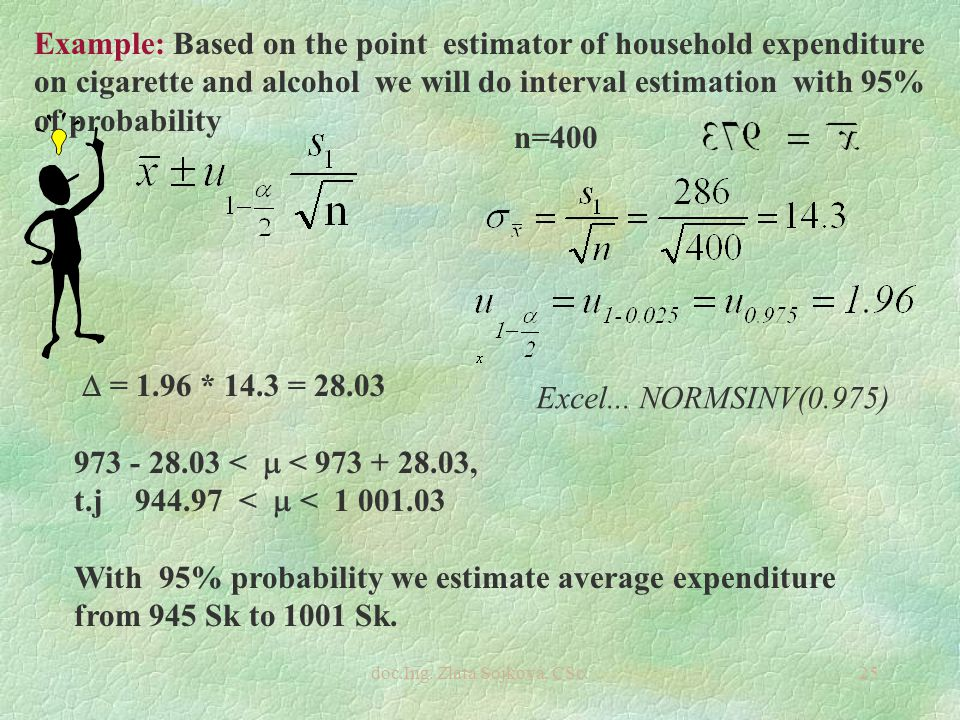 doc.Ing. Zlata Sojková, CSc.25 Example: Based on the point estimator of household expenditure on cigarette and alcohol we will do interval estimation