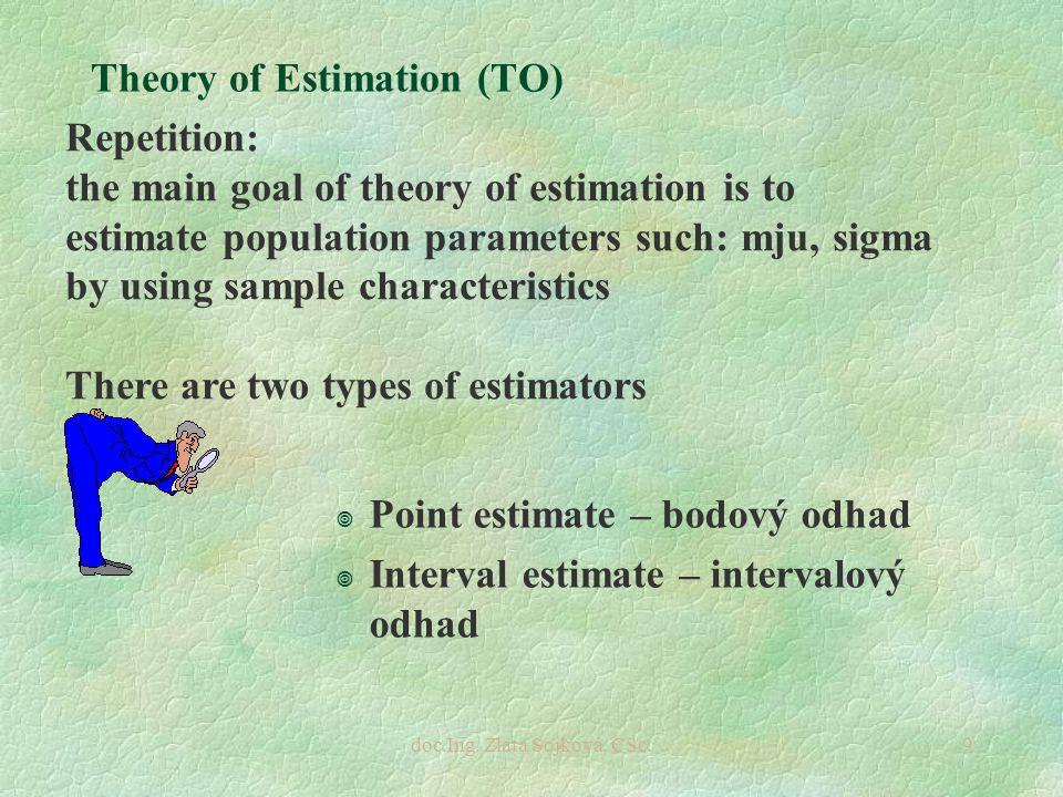 doc.Ing. Zlata Sojková, CSc.9 Theory of Estimation (TO) ¥ Point estimate – bodový odhad ¥ Interval estimate – intervalový odhad Repetition: the main g