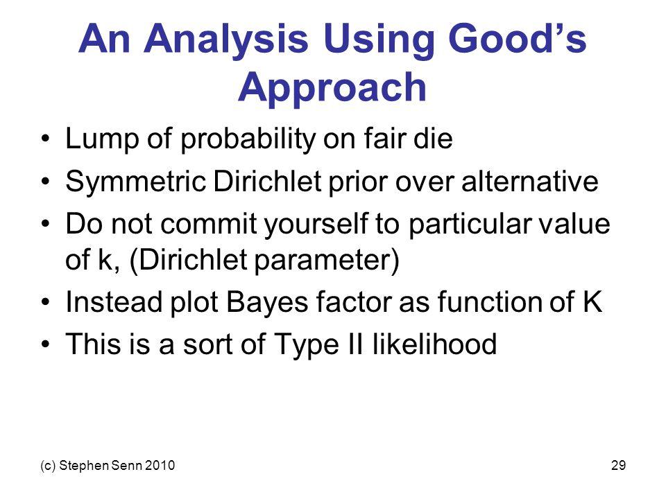 (c) Stephen Senn 201029 An Analysis Using Good's Approach Lump of probability on fair die Symmetric Dirichlet prior over alternative Do not commit you