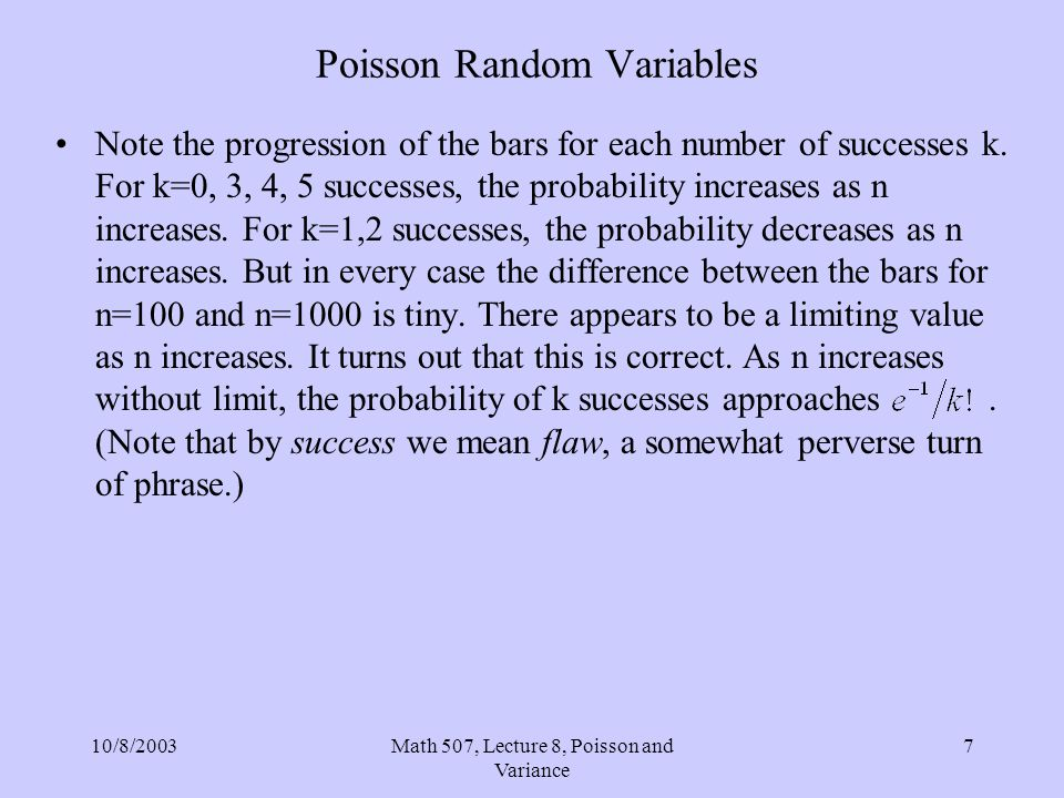 10/8/2003Math 507, Lecture 8, Poisson and Variance 7 Poisson Random Variables Note the progression of the bars for each number of successes k. For k=0