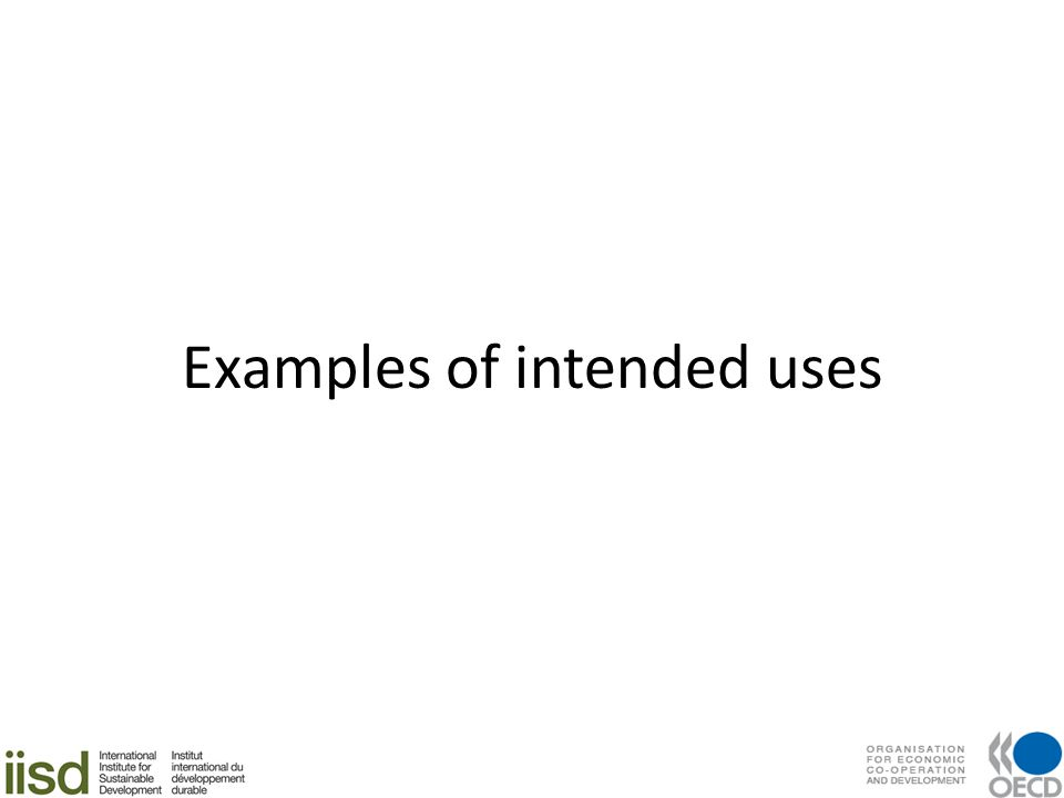 Examples of intended uses