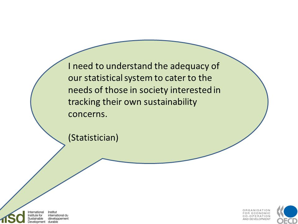 I need to understand the adequacy of our statistical system to cater to the needs of those in society interested in tracking their own sustainability concerns.
