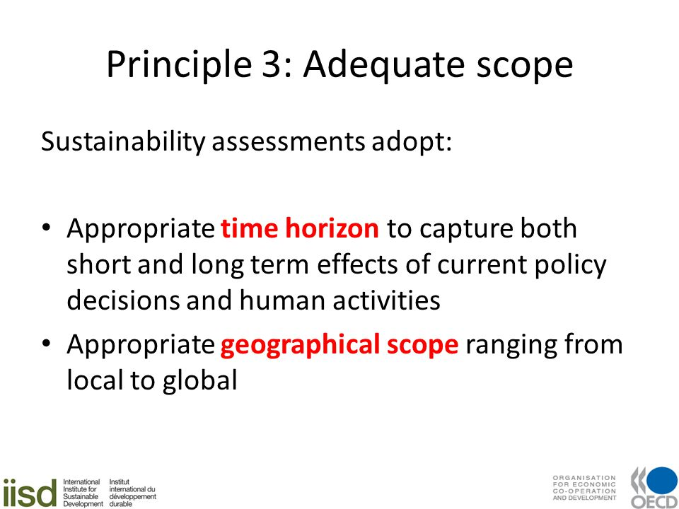 Principle 3: Adequate scope Sustainability assessments adopt: Appropriate time horizon to capture both short and long term effects of current policy decisions and human activities Appropriate geographical scope ranging from local to global