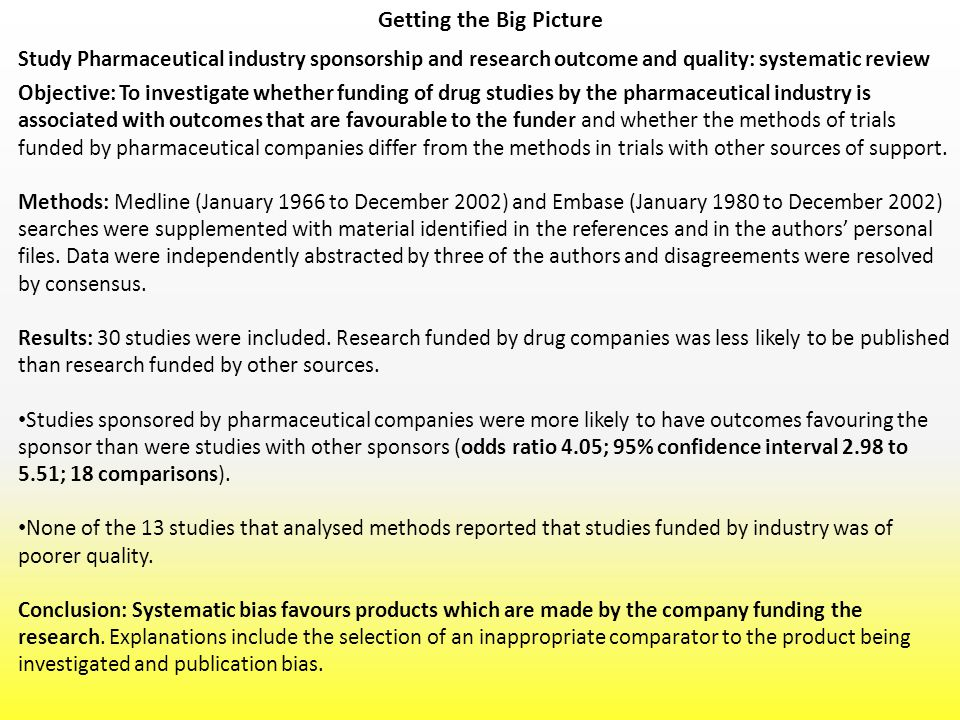 Getting the Big Picture Study Pharmaceutical industry sponsorship and research outcome and quality: systematic review Objective: To investigate whethe