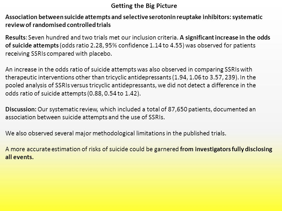 Getting the Big Picture Results: Seven hundred and two trials met our inclusion criteria. A significant increase in the odds of suicide attempts (odds