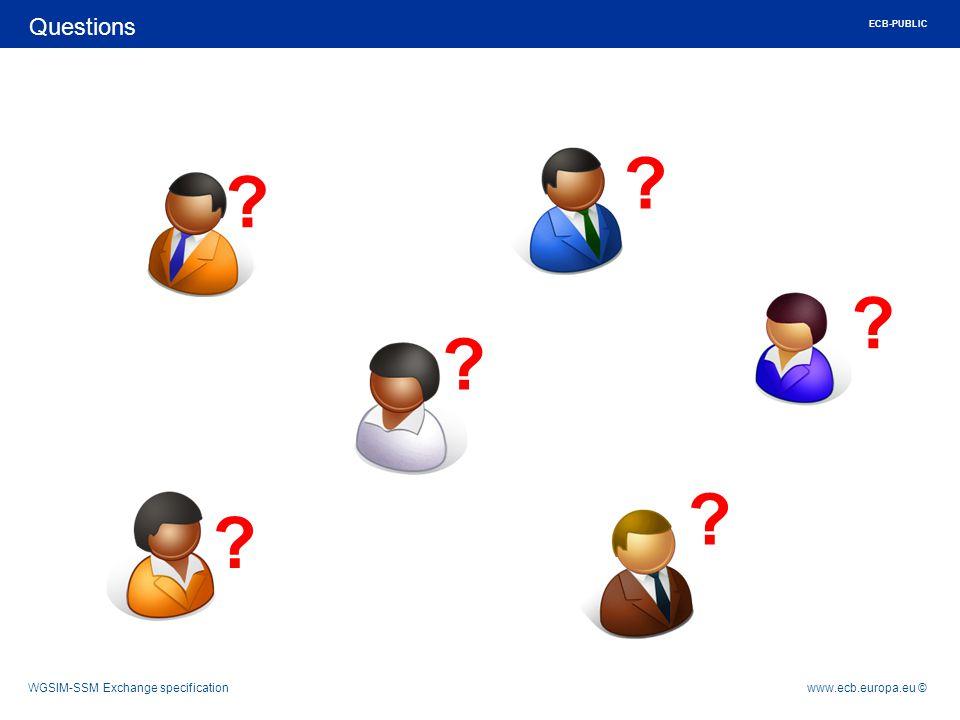 Rubric www.ecb.europa.eu ©WGSIM-SSM Exchange specification Questions ECB-PUBLIC