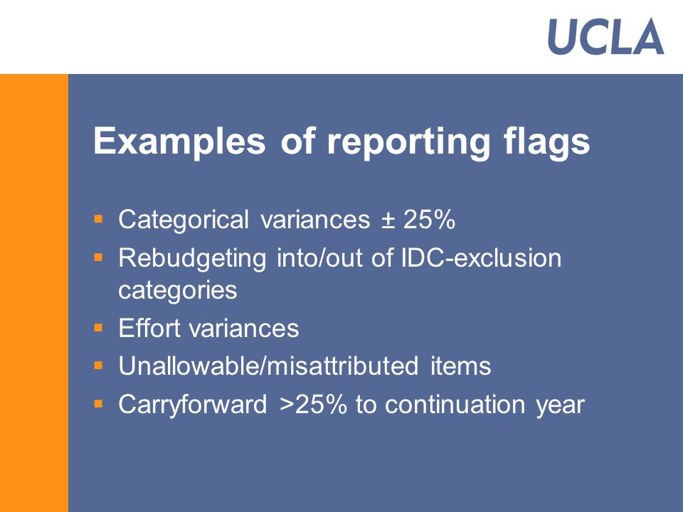 Examples of reporting flags  Categorical variances ± 25%  Rebudgeting into/out of IDC-exclusion categories  Effort variances  Unallowable/misattributed items  Carryforward >25% to continuation year