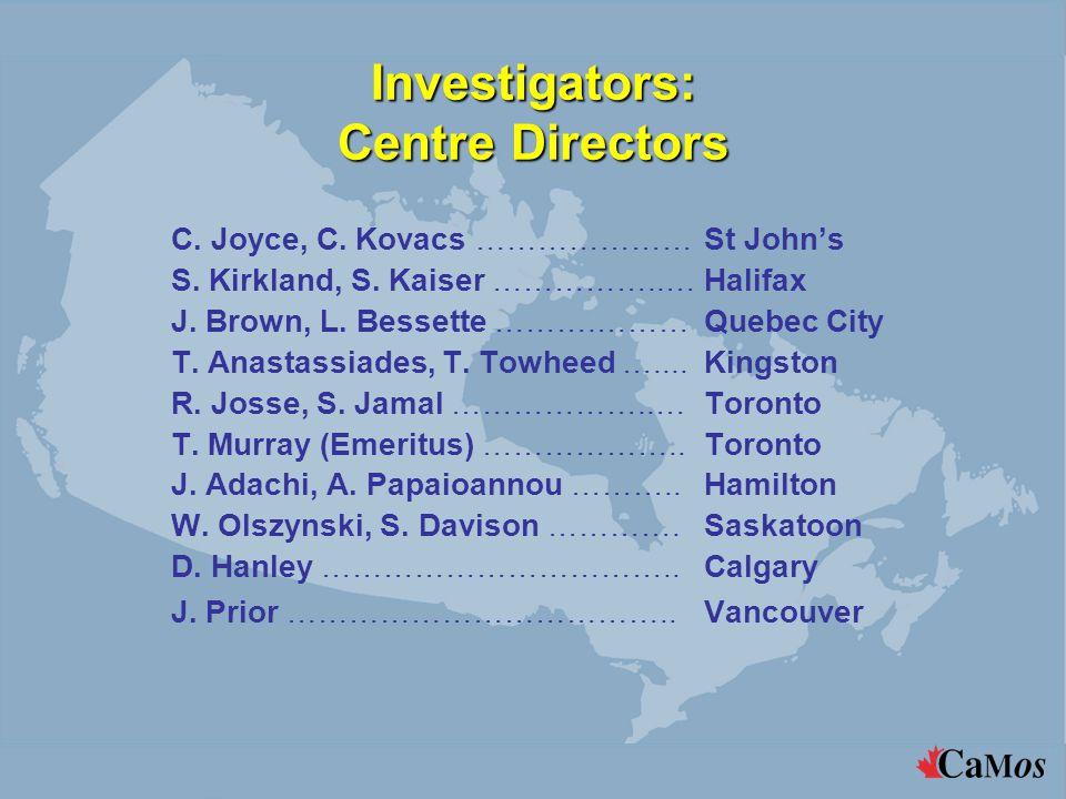 Investigators: Centre Directors C. Joyce, C. Kovacs …………………St John's S. Kirkland, S. Kaiser ……………..…Halifax J. Brown, L. Bessette ……….………Quebec City T