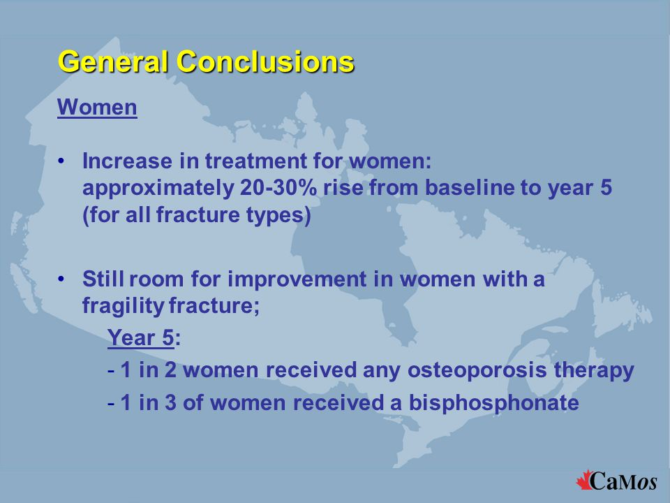 General Conclusions Women Increase in treatment for women: approximately 20-30% rise from baseline to year 5 (for all fracture types) Still room for improvement in women with a fragility fracture; Year 5: -1 in 2 women received any osteoporosis therapy -1 in 3 of women received a bisphosphonate