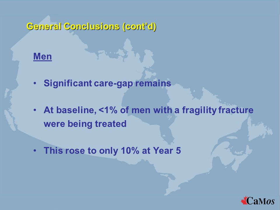 General Conclusions (cont'd) Men Significant care-gap remains At baseline, <1% of men with a fragility fracture were being treated This rose to only 1