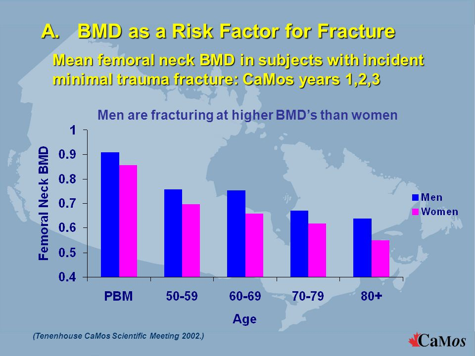 A. BMD as a Risk Factor for Fracture Men are fracturing at higher BMD's than women (Tenenhouse CaMos Scientific Meeting 2002.) Mean femoral neck BMD i