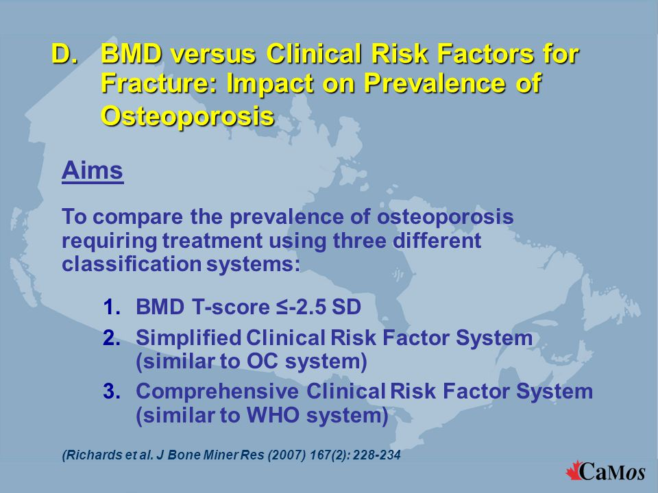 D.BMD versus Clinical Risk Factors for Fracture: Impact on Prevalence of Osteoporosis (Richards et al. J Bone Miner Res (2007) 167(2): 228-234 Aims To