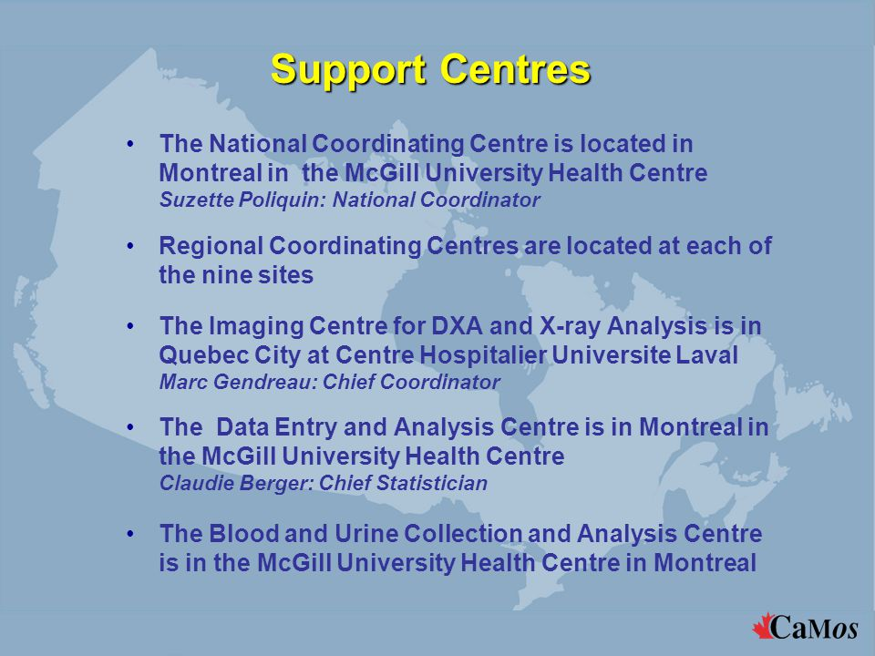 Regional Centres and National Coordinating Centre (Montreal )