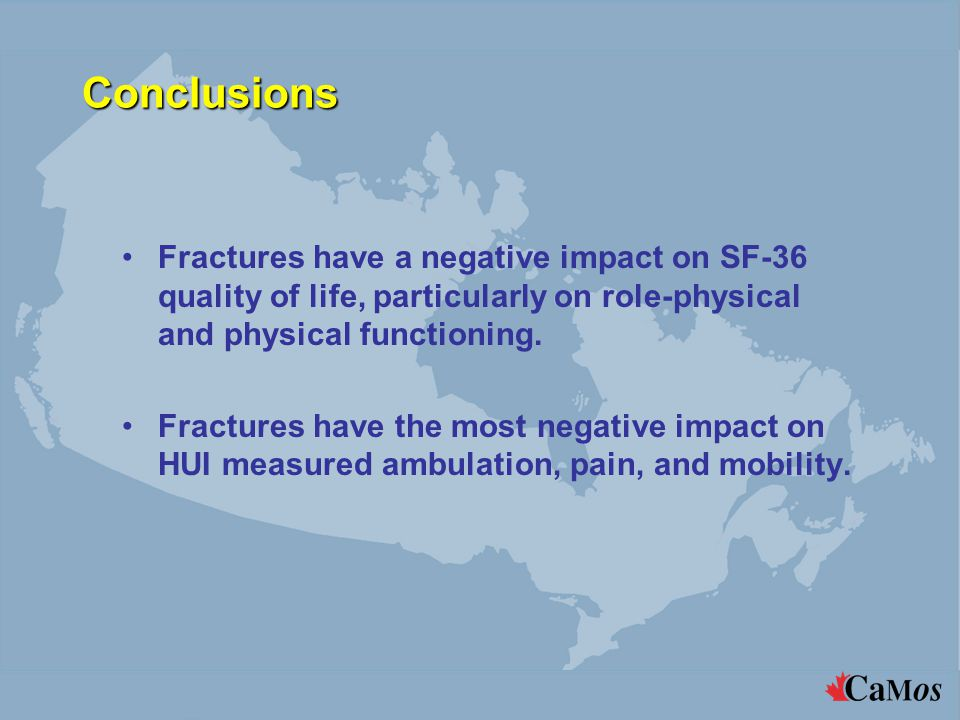 Conclusions Fractures have a negative impact on SF-36 quality of life, particularly on role-physical and physical functioning.