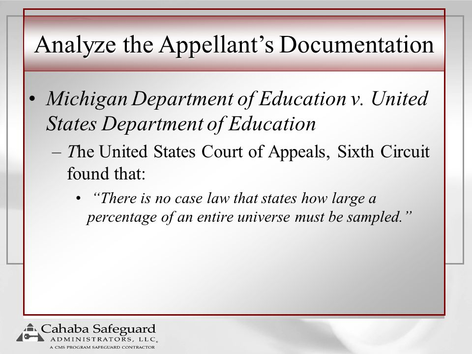Analyze the Appellant's Documentation Michigan Department of Education v.