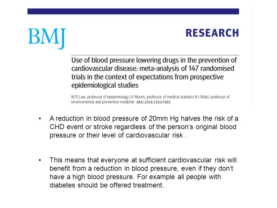 A reduction in blood pressure of 20mm Hg halves the risk of a CHD event or stroke regardless of the person's original blood pressure or their level of cardiovascular risk.