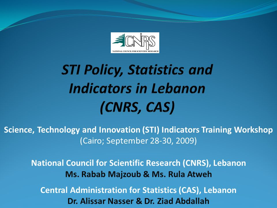 Science, Technology and Innovation (STI) Indicators Training Workshop (Cairo; September 28-30, 2009) National Council for Scientific Research (CNRS), Lebanon Ms.