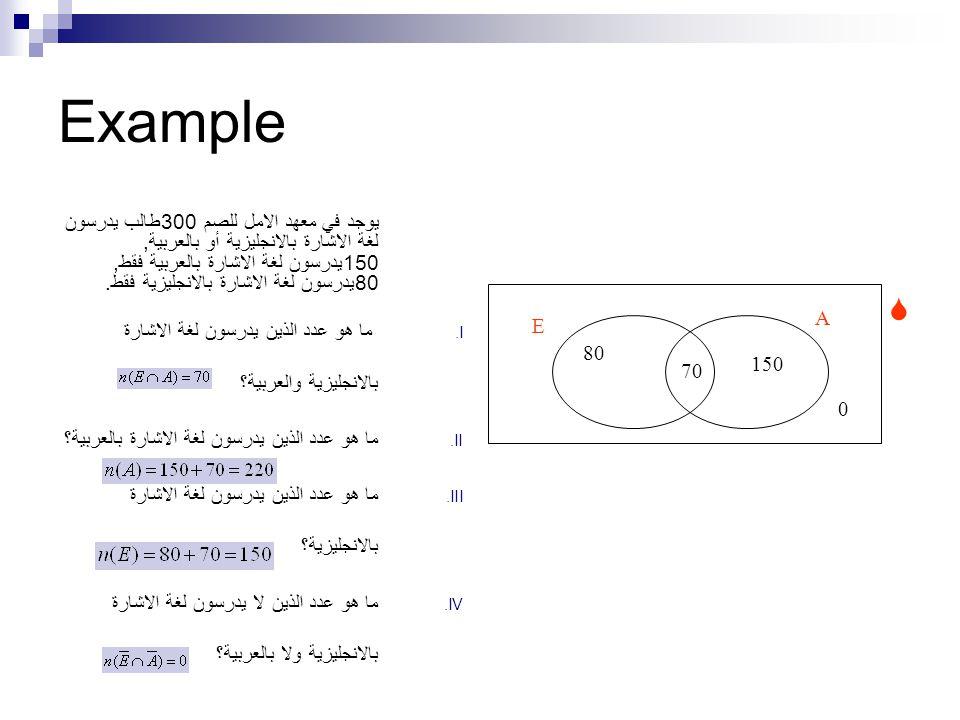 Example يوجد في معهد الامل للصم 300طالب يدرسون لغة الاشارة بالانجليزية أو بالعربية, 150يدرسون لغة الاشارة بالعربية فقط, 80يدرسون لغة الاشارة بالانجليزية فقط.