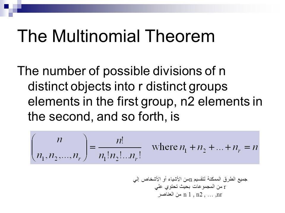 The Multinomial Theorem The number of possible divisions of n distinct objects into r distinct groups elements in the first group, n2 elements in the second, and so forth, is جميع الطرق الممكنة لتقسيمn من الأشياء أو الأشخاص إلي rمن المجموعات بحيث تحتوي علي من العناصر n 1, n2, …,nr