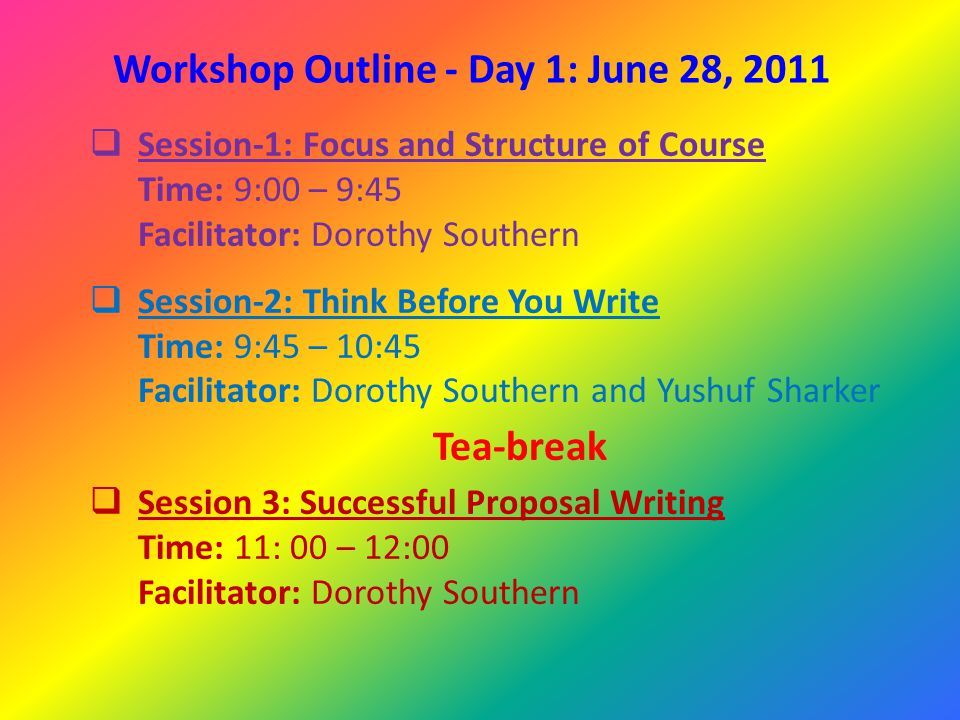 Workshop Outline - Day 1: June 28, 2011  Session 4: Framing your research question Time: 12:00 – 13:00 Facilitator: Dorothy Southern Lunch  Session 5: Plagiarism and referencing Time: 14:30 to 15:30 Tea-break  Session 6: Writing in Scientific Style Time: 16:00 – 17:00 Facilitator: Dorothy Southern