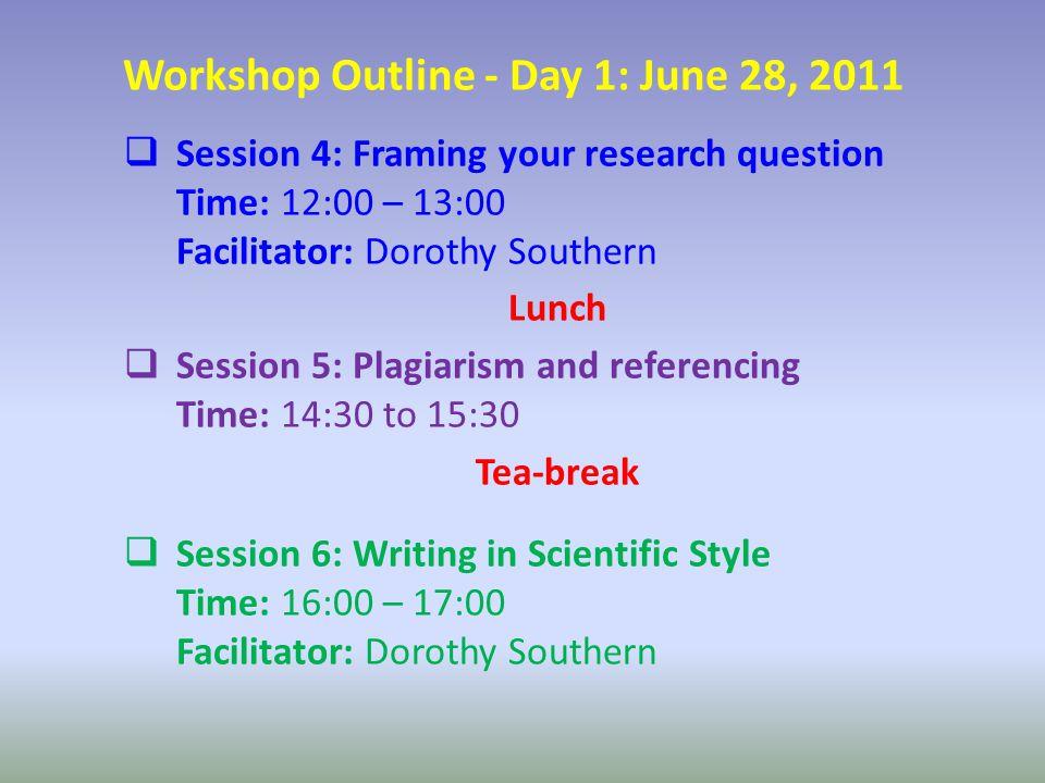 Workshop Outline - Day 2: June 29, 2011  Session-1: Epidemiological Research Design Time: 9:00 – 10:30 Facilitator: Yushuf Sharker Tea-break  Session-2: Variables and Measurements Time: 11:00 – 13:00 Facilitator: Yushuf Sharker Lunch  Session 3: Logistics Time: 14:30 – 15:30 Facilitator: Dorothy Southern Tea-break  Session-4: Ethics, Gender, Collaboration and Knowledge Translation Time: 16:00 – 17:00 PM Facilitator: Dorothy Southern