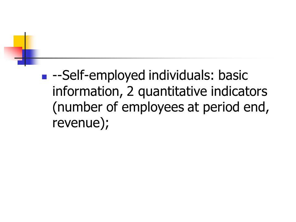 --Self-employed individuals: basic information, 2 quantitative indicators (number of employees at period end, revenue);