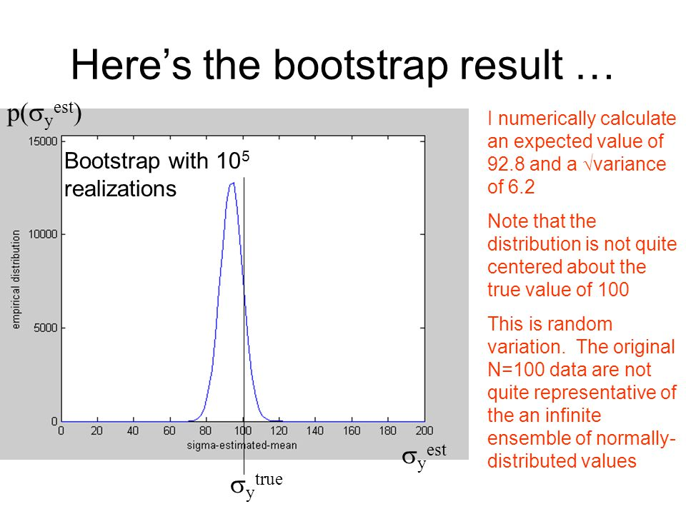 Here's the bootstrap result … Bootstrap with 10 5 realizations  y true I numerically calculate an expected value of 92.8 and a  variance of 6.2 Note