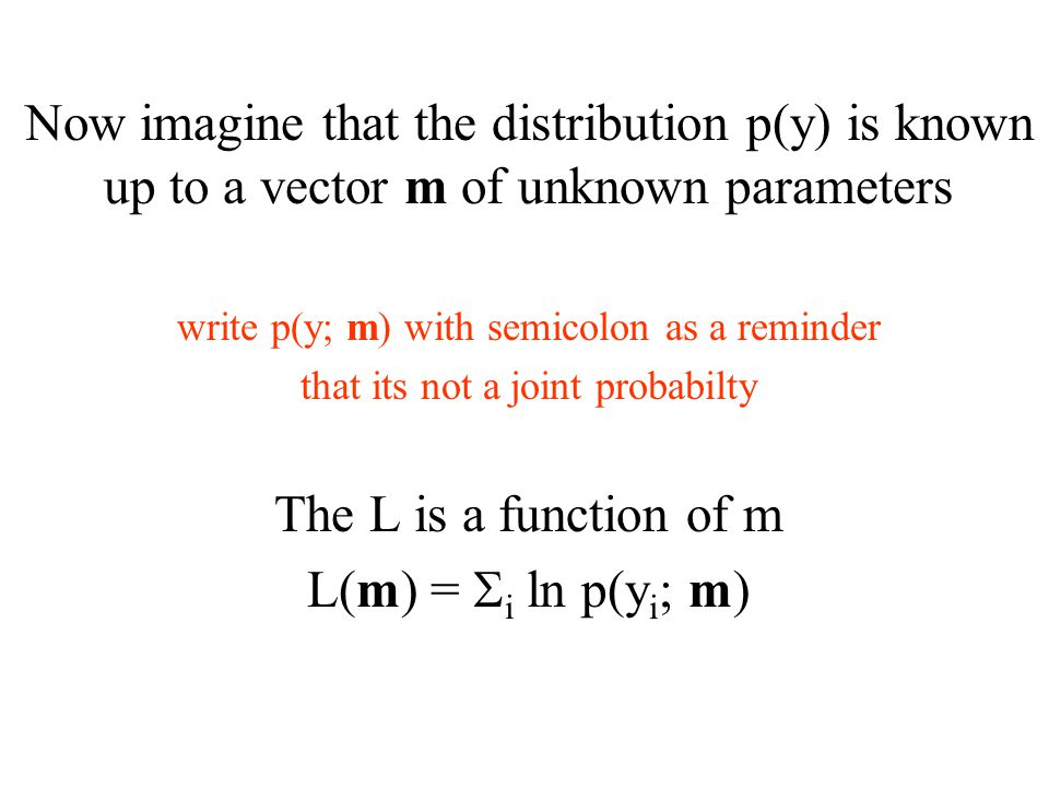 Now imagine that the distribution p(y) is known up to a vector m of unknown parameters write p(y; m) with semicolon as a reminder that its not a joint