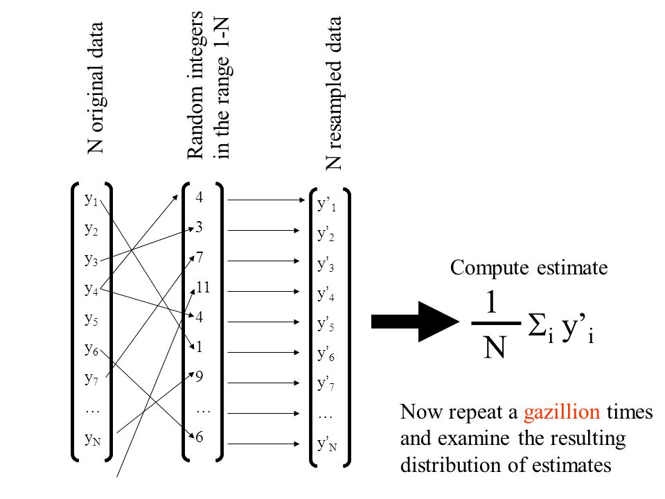 Note that we are doing random sampling with replacement of the original dataset y to create a new dataset y' Note: the same datum, y i, may appear several times in the new dataset, y'