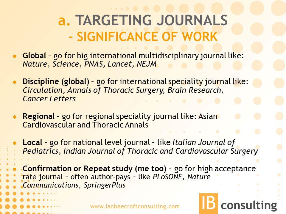 a. TARGETING JOURNALS - SIGNIFICANCE OF WORK Global – go for big international multidisciplinary journal like: Nature, Science, PNAS, Lancet, NEJM Dis