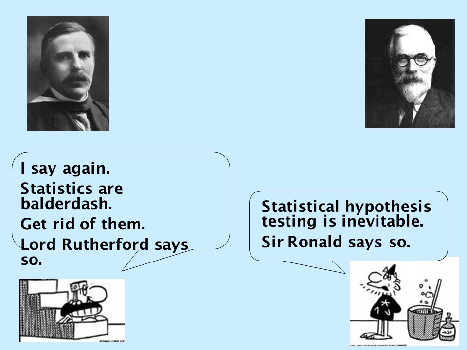 I say again. Statistics are balderdash. Get rid of them. Lord Rutherford says so. Statistical hypothesis testing is inevitable. Sir Ronald says so.