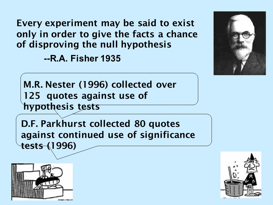 Every experiment may be said to exist only in order to give the facts a chance of disproving the null hypothesis --R.A. Fisher 1935 D.F. Parkhurst col