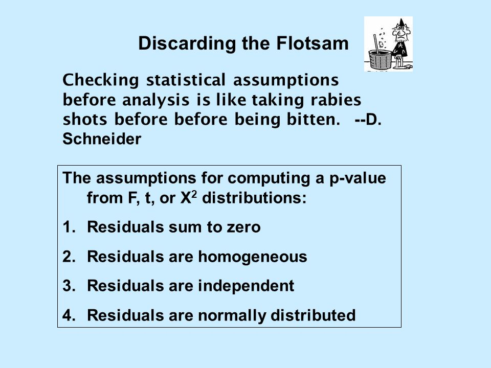 Discarding the Flotsam The assumptions for computing a p-value from F, t, or X 2 distributions: 1.Residuals sum to zero 2.Residuals are homogeneous 3.
