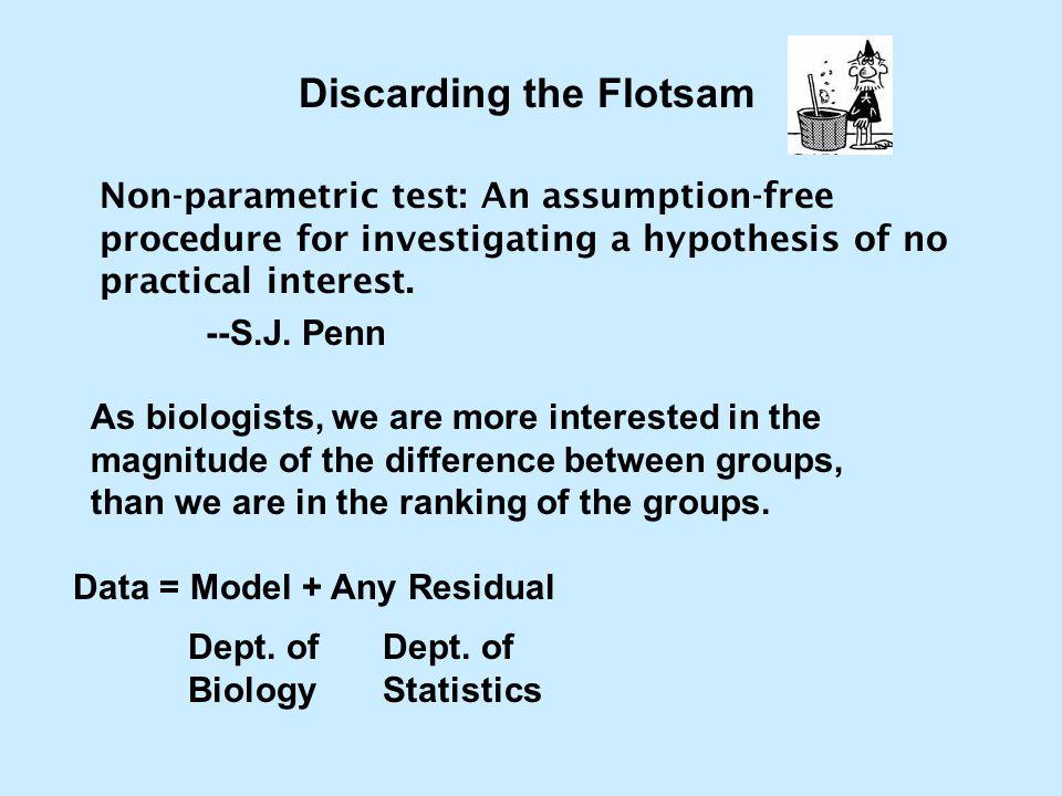 Non-parametric test: An assumption-free procedure for investigating a hypothesis of no practical interest. --S.J. Penn Discarding the Flotsam As biolo