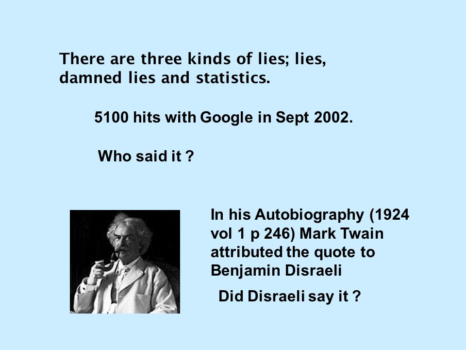There are three kinds of lies; lies, damned lies and statistics. 5100 hits with Google in Sept 2002. Who said it ? In his Autobiography (1924 vol 1 p