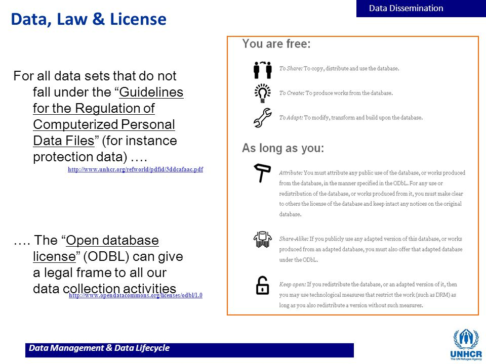 "Data Management & Data Lifecycle Data, Law & License For all data sets that do not fall under the ""Guidelines for the Regulation of Computerized Perso"