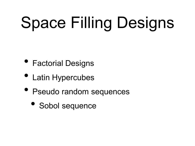 Space Filling Designs Factorial Designs Latin Hypercubes Pseudo random sequences Sobol sequence