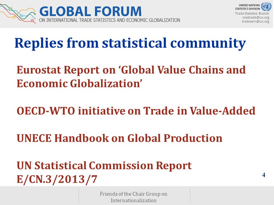 Trade Statistics Branch comtrade@un.org tradeserv@un.org Friends of the Chair Group on Internationalization 4 Eurostat Report on 'Global Value Chains and Economic Globalization' OECD-WTO initiative on Trade in Value-Added UNECE Handbook on Global Production UN Statistical Commission Report E/CN.3/2013/7 Replies from statistical community