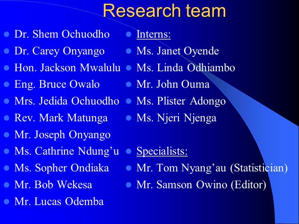 Research team Dr. Shem Ochuodho Dr. Carey Onyango Hon.