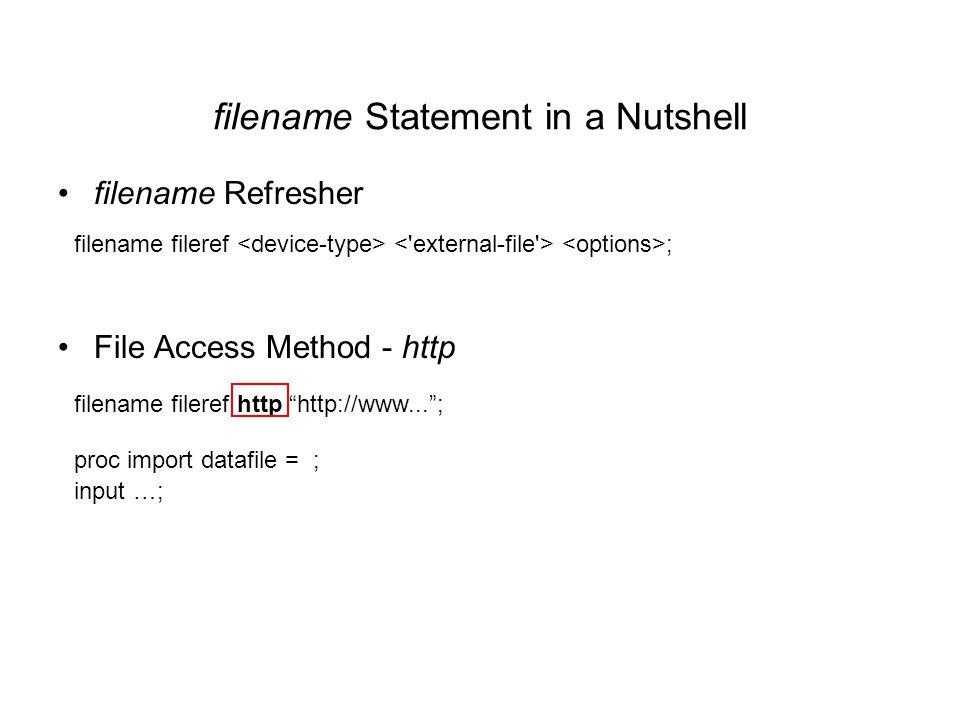filename Statement in a Nutshell filename Refresher File Access Method - http filename fileref http http://www... ; proc import datafile = ; input …; filename fileref ;