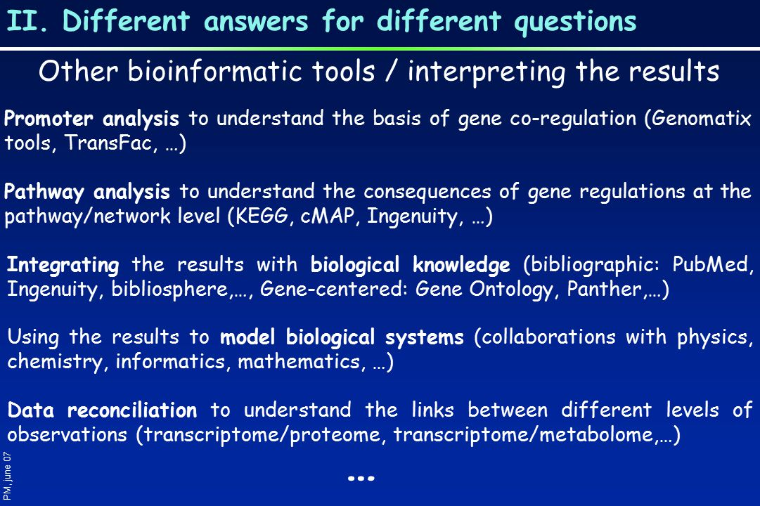 II. Different answers for different questions PM, june 07 Other bioinformatic tools / interpreting the results Promoter analysis to understand the bas