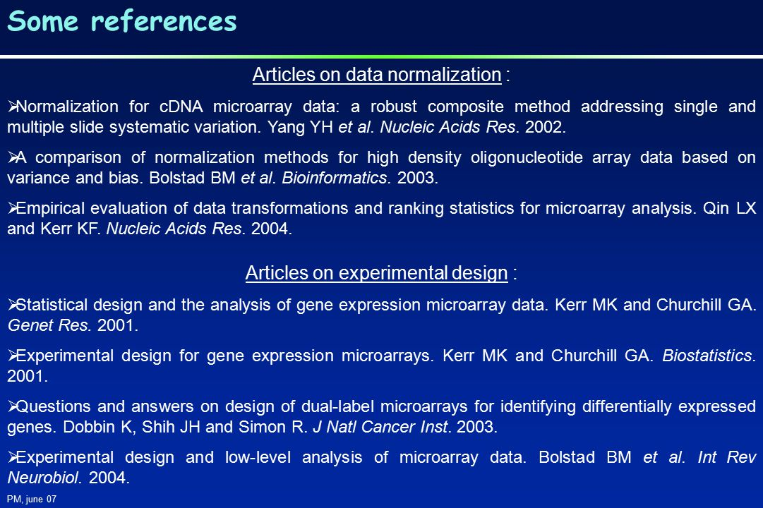 Articles on data normalization :  Normalization for cDNA microarray data: a robust composite method addressing single and multiple slide systematic variation.